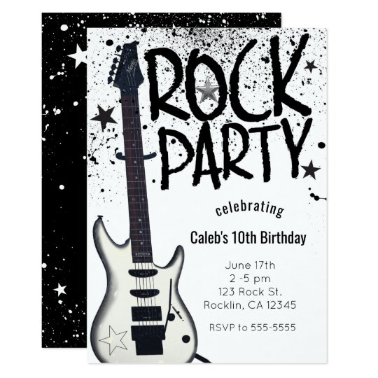 Rock Star Party Guitar Birthday Event Invitations