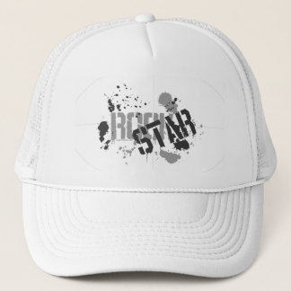 Rock Star White Mesh Truckers Cap Paint Splatter