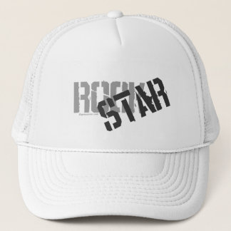 Rock Star White Trucker's Hat, Mesh Hat