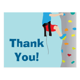 Rock Wall Climbing Birthday Party Thank You Postcard