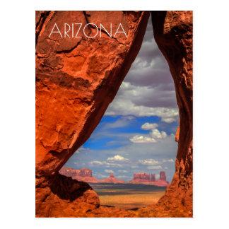 Rock window to Monument Valley, AZ Postcard