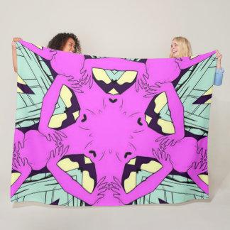 Rockabilly Acid Trip Satin Mandala Fleece Blanket