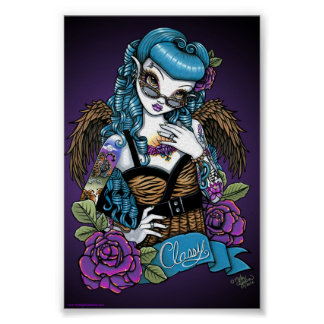 Rockabilly Baby Tattoo Angel Poster