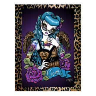 Rockabilly Baby Tattoo Leopard Angel Postcard