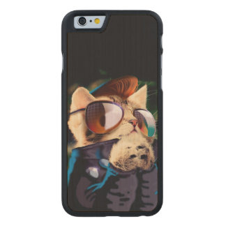 Rockabilly cat - biker cat - rocker cat - cute cat carved maple iPhone 6 case