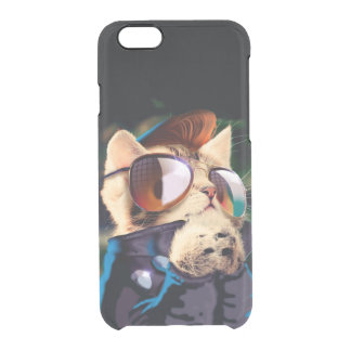 Rockabilly cat - biker cat - rocker cat - cute cat clear iPhone 6/6S case