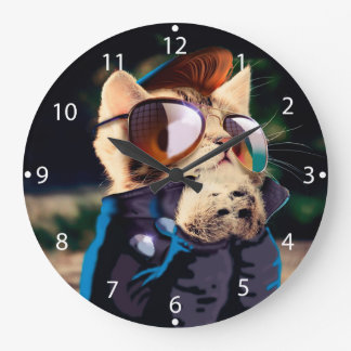 Rockabilly cat - biker cat - rocker cat - cute cat large clock