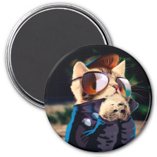 Rockabilly cat - biker cat - rocker cat - cute cat magnet