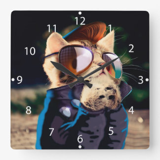 Rockabilly cat - biker cat - rocker cat - cute cat square wall clock