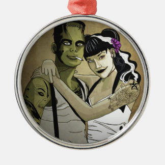 Rockabilly Frank and Bride Silver-Colored Round Ornament