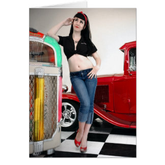 Rockabilly Garage Hot Rod Pin Up Car Girl Card