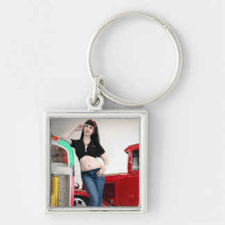 Rockabilly Garage Hot Rod Pin Up Car Girl Keychain