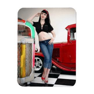 Rockabilly Garage Hot Rod Pin Up Car Girl Magnet