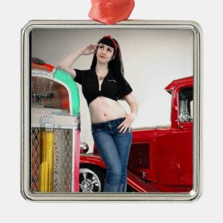 Rockabilly Garage Hot Rod Pin Up Car Girl Metal Ornament