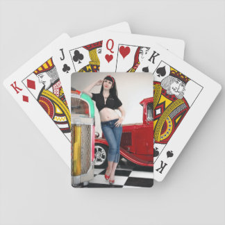 Rockabilly Garage Hot Rod Pin Up Car Girl Playing Cards