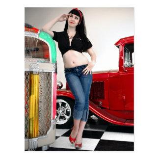 Rockabilly Garage Hot Rod Pin Up Car Girl Postcard