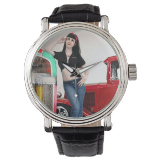 Rockabilly Garage Hot Rod Pin Up Car Girl Watch