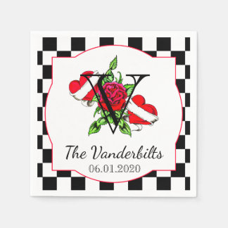 Rockabilly Hearts and Rose Wedding Napkin Paper Napkin