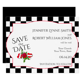 Rockabilly Hearts and Rose Wedding Save the Date Card