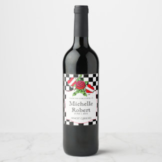 Rockabilly Hearts and Rose Wedding Wine Label