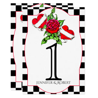 Rockabilly Hearts Rose Wedding Table Number Card