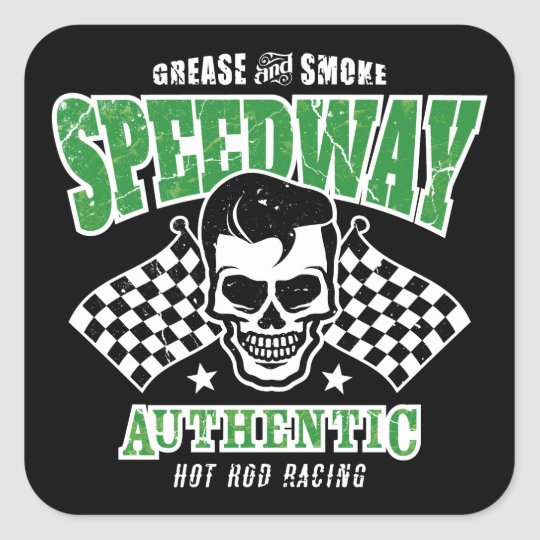 Rockabilly Hot Rod Racer Skull Square Sticker