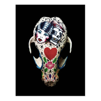 Rockabilly Painted Skull Postcard