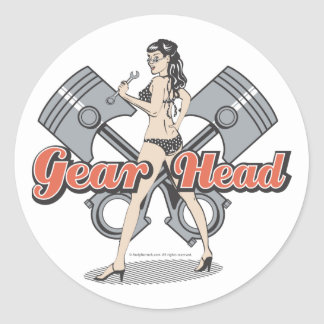 Rockabilly pinup girl with pistons classic round sticker