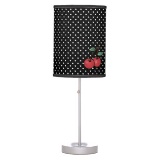 ROCKABILLY POKE DOTS & CHERRIES ACCENT TABLE LAMP