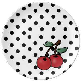rockabilly poke dots & cherries porcelain plate
