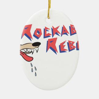 Rockabilly Rebel Ceramic Oval Ornament