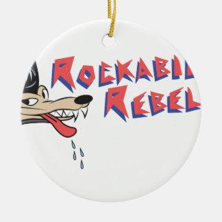 Rockabilly Rebel Round Ceramic Ornament