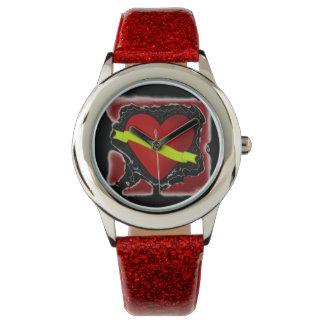 ROCKABILLY RED GLITTER WATCH WITH HEART DESIGN