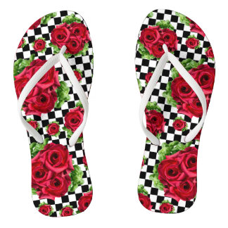 Rockabilly Red Roses Bouquet Floral Love Flip Flops