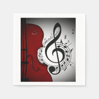 ROCKABILLY RETRO MUSIC LOVER CELLO NAPKINS DISPOSABLE NAPKINS