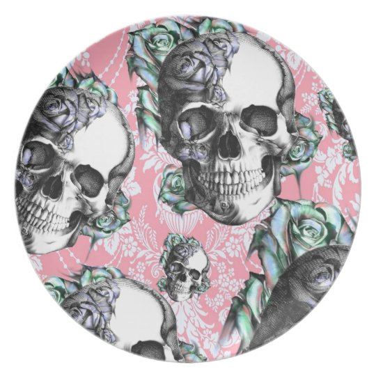 Rockabilly Skulls in Spring. Plate