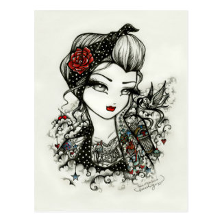 Rockabilly Tattoo Girl Sketch Rose Art Postcard