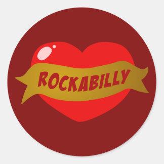 Rockabilly Tattoo Heart Round Sticker