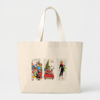 rockabilly vintage Christmas Large Tote Bag