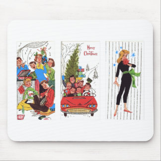 rockabilly vintage Christmas Mouse Pad