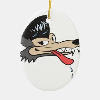 Rockabilly Wolf Ceramic Oval Ornament