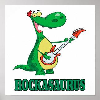 rockasaurus rock n roll dino dinosaur.ai poster