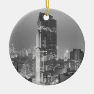 Rockefeller Center and RCA Building New York City Round Ceramic Ornament
