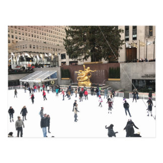 Rockefeller Center Ice Skating Rink Christmas NYC Postcard