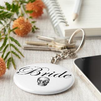 Rocker Bride Goth Skull Basic Round Button Keychain