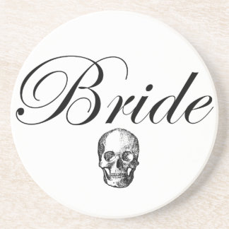 Rocker Bride Goth Skull Drink Coaster