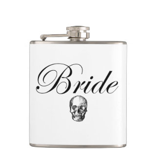 Rocker Bride Goth Skull Hip Flask Liquid Courage