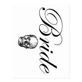 Rocker Bride Goth Skull Postcard