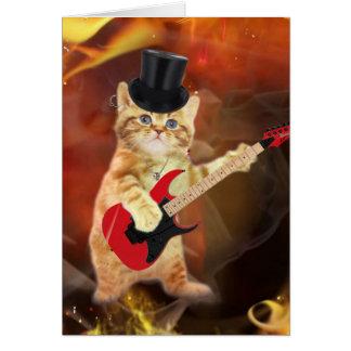rocker cat in flames card