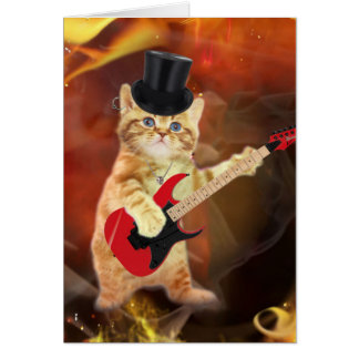 rocker cat in flames card